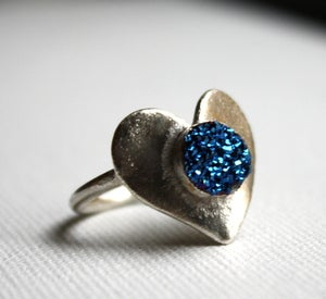 Image of Blue Drusy Heart Ring