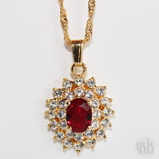 Image of Faceted Ruby Red Crystal Necklace