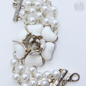 Image of Pearl and Enamel Flower Bracelet