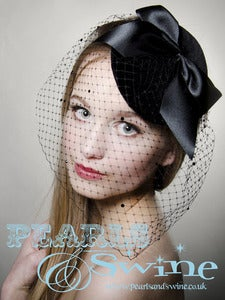"Image of ""Lilith"" Black Velvet Fascinator Vintage Inspired Avant Garde Veiled Hat 40's 50's Retro UK"