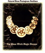 Image of Natural Buffalo Bone Pentagram Necklace of Spiritually High Priest / Priestess (EB)
