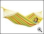 Image of AMAZONAS Aruba vanilla large weatherproof hammock with spreader bars