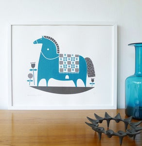 Image of NEW rocking horse print in teal