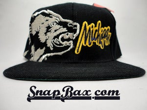 Image of U of M University of Michigan Silver Wolverine Blue Snapback Cap