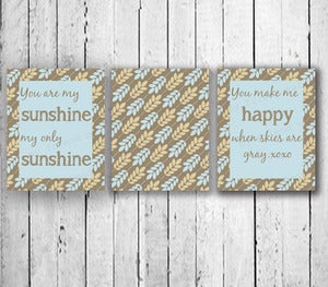 Image of You are my sunshine - set of three prints boy quote poster kids baby nursery