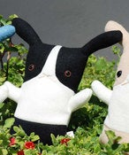 "Image of Flat Bonnie Dutch Bunny Plush - Black & White (Classic 12"") Handmade"
