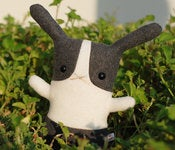 "Image of Flat Bonnie Dutch Bunny Plush - Gray & White (Classic 12"") Handmade"