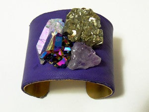 Image of Stellar Explosion Purple Leather Cuff