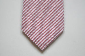 Image of RED STRIPED SEERSUCKER TIE - LS001