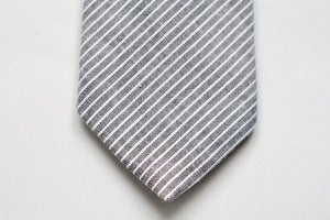 Image of GREY STRIPED CHAMBRAY TIE - LS003