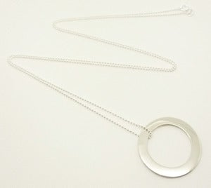 Image of STERLING SILVER 1 INCH WASHER PENDANT NECKLACE