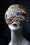 "Image of ""Marlene"" satin sleeping mask in leopard print with gold trim"