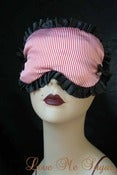 Image of Nautical inspired Sleep mask - Mélisande - red stripes black trim