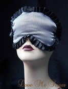 Image of Ahoy Black satin striped sailor Sleep mask- Marcellette- with black trim