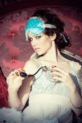 Image of Couture Sleep mask 'Chantilly' in quilted teal silk and white silk tulle