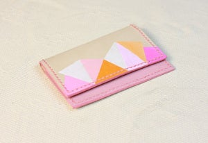 Image of Pink Color Painted (Triangle Pattern) Name Card Holder
