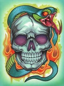 Image of Original Drawing- Skull with blue snake
