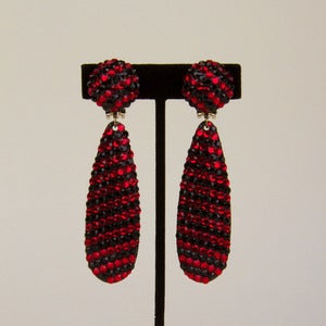 Image of Red and Black 1980's Crystal Clip Earrings