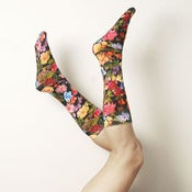 Image of Black Floral Stockings