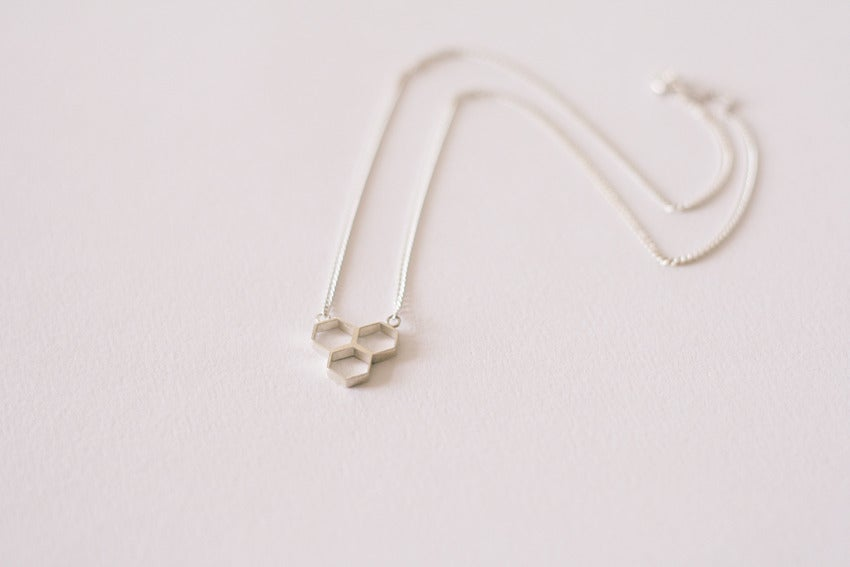 Image of Hex Trio Necklace - Silver