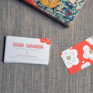 Image of Red Flowers Calling Cards