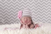 Image of Earflap Beanie in Stone and White stripes with Baby Pink flower (6 Sizes available)
