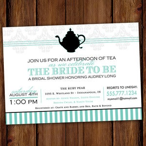 Image of Two for Tea Party Invitation - Bridal Showers, Tea Parties, Birthday Parties, 