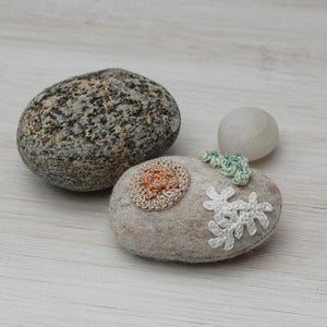 Image of Felt stone and crochet lichen brooch
