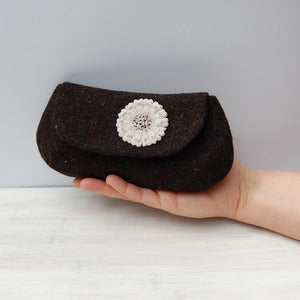 Image of Dark Harris tweed clutch purse