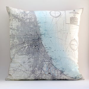 "Image of Vintage CHICAGO LAKE FRONT Map Pillow, Made to Order 18"" x18"" Cover"