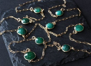 Image of Long Rose Cut Emerald Station Necklace in 14kt Gold- as seen in Destination Weddings
