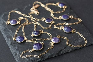 Image of Long Rose Cut Blue Sapphire Station Necklace in 14kt Gold