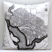 "Image of Vintage WASHINGTON, DC Map Pillow, Made to Order 18"" x18"" Cover"