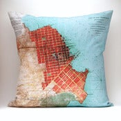 "Image of Vintage SAN FRANCISCO # 1 Map Pillow, Made to Order 18"" x18"" Cover"