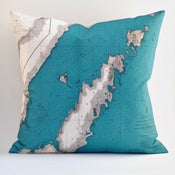"Image of Vintage DOOR COUNTY, WI Map Pillow, Made to Order 18"" x18"" Cover"