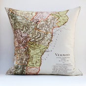 "Image of Vintage VERMONTMap Pillow, Made to Order 18"" x18"" Cover"