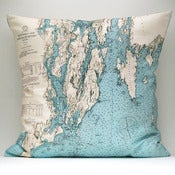 "Image of Vintage MAINE #1 Map Pillow, Made to Order 18"" x18"" Cover"
