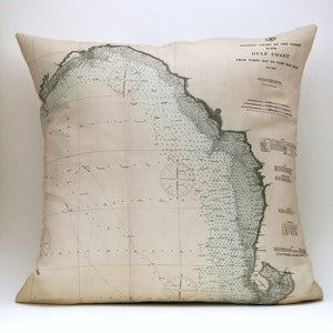"Image of Vintage GULF COAST, FL Map Pillow, Made to Order 18"" x18"" Cover"