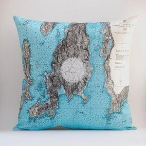 "Image of Vintage RHODE ISLAND # 2 Map Pillow, Made to Order 18"" x18"" Cover"