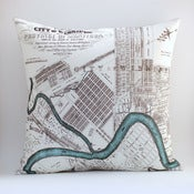 "Image of Vintage WINNIPEG, CA Map Pillow, Made to Order 18"" x18"" Cover"