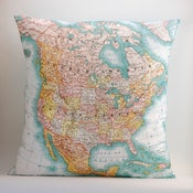 "Image of Vintage NORTH AMERICA Map Pillow, Made to Order 18"" x18"" Cover"