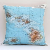 "Image of Vintage HAWAII Map Pillow, Made to Order 15"" x15"" Cover"