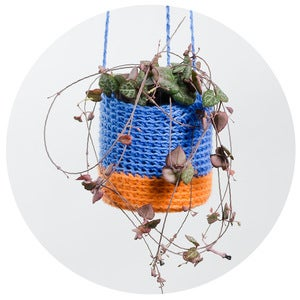 Image of Crochet Planter (blue and peach)