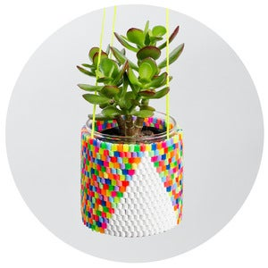 Image of Woven Bead Planter (multi colour with white triangle)