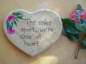 Image of Hand-painted Wooden Heart Plaque - Tho' miles apart