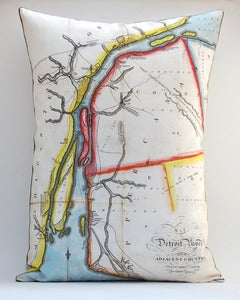 Image of Vintage DETROIT RIVER #1 Map Pillow, Made to Order 16&quot;x22&quot; Cover