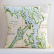 "Image of Vintage PUGET SOUND Map Pillow, Made to Order 18""x18"" Cover"