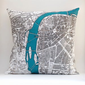 "Image of Vintage PRAGUE Map Pillow, Made to Order 18"" x18"" Cover"