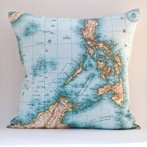 "Image of Vintage PHILIPPINES Map Pillow, Made to Order 18"" x18"" Cover"