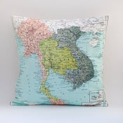 "Image of Vintage THAILAND BURMA Map Pillow, Made to Order 15"" x15"" Cover"